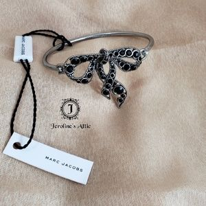 Marc Jacobs Black Crystal Bow Bangle Bracelet